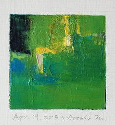 Apr. 19, 2015 - Original Abstract Oil Painting - 9x9 painting (9 x 9 cm - app. 4 x 4 inch) with 8 x 10 inch mat