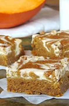 Cheesecake Swirled Pumpkin Roll Bars | @Jovita | YummyAddiction.com