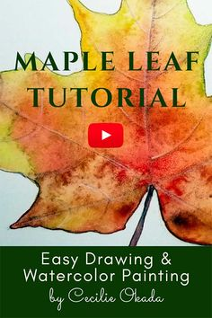 Drawing For Beginners Drawing and watercolor video tutorial. Shows you step by step how to draw and paint a maple leaf, adding colored pencils at the end. For beginner. Free color swatches and reference photos. By cecilie Okada. Watercolor Pencil Art, Watercolor Art Lessons, Watercolor Paintings For Beginners, Watercolor Video, Watercolour Tutorials, Painting Lessons, Watercolor Techniques, Watercolor Classes, Drawing Lessons