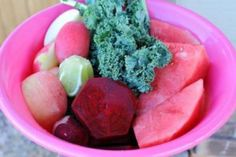 A colorful (pink) and sweet juice made with Kale.