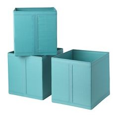 "IKEA - SKUBB, Box, light blue, , Easy to pull out as the box has a handle on the side.All three boxes fit side by side in a 39⅜"" wide wardrobe frame.When the box is not in use and you want to save space, simply open the zipper in the bottom and fold it flat."