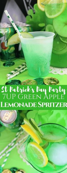 We love a good spritzer!  Create a St. Patrick's Day lemonade spritzer for your party tonight!