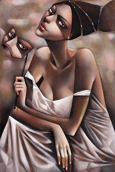 """Thalia"" - Ira Tsantekidou (b. 1967), oil on canvas {figurative art deco female head décolletage beautiful woman face mask portrait painting} tatucya.com"