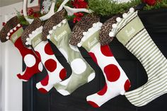 How to keep stockings hanging straight from the mantel.....Holiday Home Series:  The Art Of Hanging Stockings