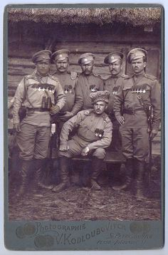 Imperial Russian Army - Recipients of St. Identifiable Russian Army uniform items include oval cap badges, peasant styled shirts and distinct shoulder boards. Imperial Army, Imperial Russia, World War One, First World, George Cross, Red Army, War Machine, Eastern Europe, Military History