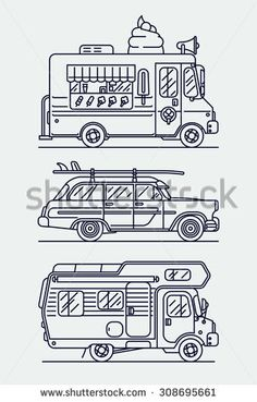 Set of linear vector trendy flat icons on leisure and recreational vehicles including caravan trailer camping truck, retro woodie surf car and ice cream van | Cool thin line contour cars  - stock vector