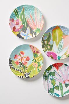 Slide View: Jardiniere Melamine Set of Canape Plates Pottery Painting, Ceramic Painting, Ceramic Art, Ceramic Plates, Ceramic Pottery, Decorative Plates, Painted Plates, Deco Originale, Plate Art