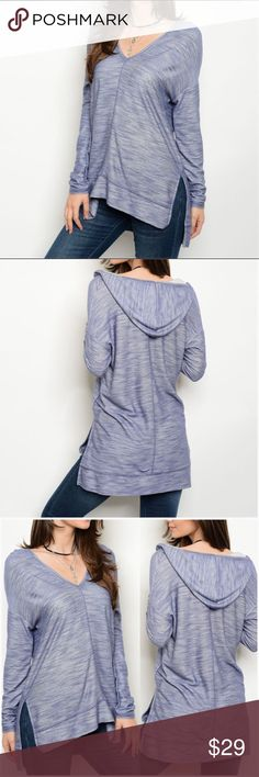 """Heather Blue Hooded Pullover Heather Blue Hooded Pullover  *V-Neck and Hooded *Slit up each side *Hi/Low Style *65% Rayon 35% Polyester  Measurements: Small-     Bust: 39"""" Length: 26/28.5"""" Sleeve Length: 17.5"""" Medium- Bust: 42"""" Length: 26.5/29"""" Sleeve Length: 18.5"""" Large-     Bust: 44"""" Length: 26.75/29"""" Sleeve Length: 19""""  ***Regarding sleeve length...this measurement is from the shoulder seam, but this seam drops off the shoulder quite a bit (see photos)***  ❣️Price is firm unless bundled❣️…"""