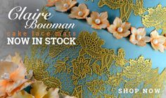 Have you seen the new line of Claire Bowman lace mats? Talk about gorgeous! They are so detailed and add depth and drama to any cake! Her lace mix is top notch, and she also offers pre-mixed lace mix for the busy decorator!
