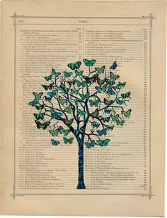 Butterfly Tree 3  - Upcycled vintage book page print printed on a page from an Antique 1800s Book Buy 3 get 1 Free. $7.99, via Etsy.