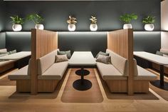 The finishing touches on First Sentier Investors' Barangaroo office Restaurant Interior Design, Office Interior Design, Office Interiors, Engineered Timber Flooring, Wood Flooring, Booth Seating, Workspace Design, Restaurant Furniture, Outdoor Furniture Sets