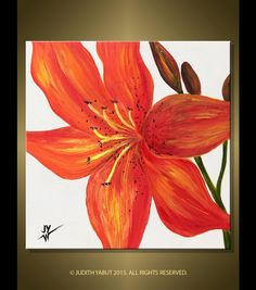 """Tiger Lily- Original Painting; 12x12"""" Canvas Art, Red and Yellow Flower, Fine Art by Judith Yabut by studiox26 on Etsy"""