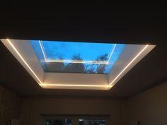 warmer white 2700k led tape skylight installation Lounge Lighting, Linear Lighting, Strip Lighting, Interior Lighting, Lighting Design, Lantern Roof Light, Sky Lanterns, Lantern Lighting, Skylight Window