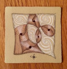 https://flic.kr/p/E3XL79 | Renaissance Tile with Verve | Using tangle pattern Verve and only brown and white pens.
