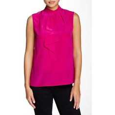 Ted Baker London Syna Sleeveless Silk Blouse (€92) ❤ liked on Polyvore featuring tops, blouses, mid pink, pink sleeveless blouse, silk top, keyhole top, high neck sleeveless blouse and pink sleeveless top
