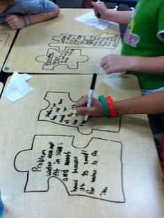 Problem and Solution puzzle writing on desks (picture only)