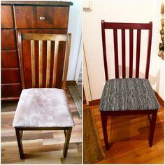 Ennen ja jälkeen.  Tuolin duunasin maalaus ja Marimekko kuosi