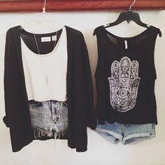 summer grunge style, cardigan, tank top, short shorts