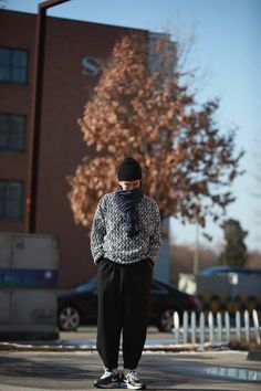 Knit + wide pants   men style