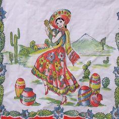 Vtg 50s Hand Painted Mexican Kitchen Towel Senorita Playing Guitar Floral Print #vtg #50s #1950s #HandPaintedKitchenTowel #MexicanSpanishWomanSenorita #FloralCactusPrint #HousewareDecor #OrangeRedBlueGreen #HeavyCanvasCotton #29x14 #MothballHavenVintageThreads