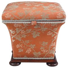 For Sale on - This lovely small storage ottoman was made in England during the The form a common design has been made from the regency period into the mid Small Storage Ottoman, Storage Area, Victorian Furniture, Pouf Ottoman, Rare Antique, Club Chairs, Vintage Patterns, French Antiques