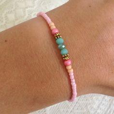 Mint15 - Pink Paradise bracelet www.mint15.com Handmade Bracelets, Handmade Jewelry, Jewelry Crafts, Jewelry Bracelets, Jewelery, Beaded Jewelry, Bracelet Making, Jewelry Making, Anklets