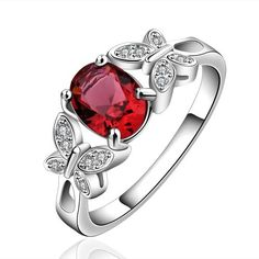 New Arrival 925 Silver Beautiful Ruby Diamond Fashion Band Ring for Women Lady Lovers(O)