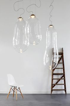The Big Bubble by Alex de Witte, is an extra large bubble of blown glass functioning as a pendant lamp. Each piece is slightly different from the next in exact size and shape. The design won first place for best new product at Design District Amsterdam 2013 and is now available for purchase at Dark.