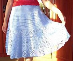Белая ажурная юбка крючком