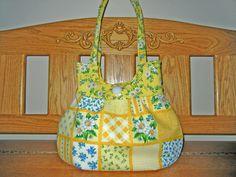 SALE...Sweet Pea Tote Purse Handbag Yellow Blue Gold by craftcrazy4u, $35.00