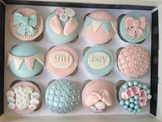 Boy or Girl? Gender Reveal Baby shower cupcakes