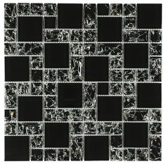 Crackled Glass Mosaic Tile French Pattern Night | Mineral Tiles