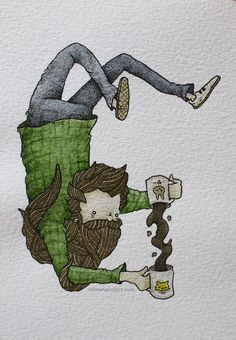 """chechitout:  """"I'd share all my coffee with you"""" (pen & watercolor, 3.5""""x5"""")"""