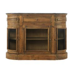 """Handcrafted from reclaimed pine with a bluestone tabletop, the Arhaus Kensington 53"""" Media Cabinet in Natural is a unique addition to any space."""