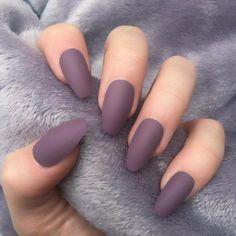Nail - 49 Trendy Almond Matte Nail Designs You'll Love - - 49 Trendy Almond Matte Nail Designs You'll Love nails nail ideas trendy nails matte nails. Coffin Nails Matte, Cute Acrylic Nails, Fun Nails, Matte Nail Polish, Acrylic Nails Almond Matte, Acrylic Nails For Fall, Matte Purple Nails, Matte Nail Colors, Brown Nails