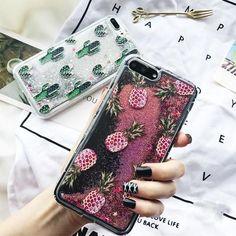 Pineapple & Cactus Liquad Quicksand iPhone Case