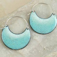 Robins Egg - Copper Enamel Earrings - Deep Cut Large Crescent.