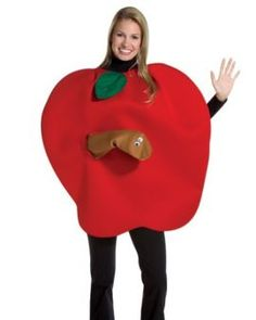 Rasta Imposta Apple with Worm Costume -- This food costume is a recipe for winning your Halloween Costume Contest! #food #recipes #halloween #costume