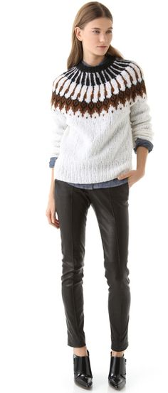 Not every Fair Isle sweater looks this great with leather....