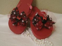 Flip Flops Minnie Mouse Red by Sassykatboutique on Etsy, $16.00