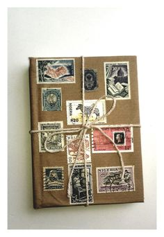& from Parceland Stamp on Etsy Postage Stamp Art, Book Binding, Display Ideas, Creative Art, Notebooks, Journaling, Arts And Crafts, Around The Worlds, Scrapbooking