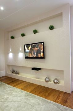 tv wall design as an office space accessory or as an ornament of a farmhouse living rooom design for your modern farmhouse style part 1 # farmhousedecor Tv Wall Design, Ceiling Design, Tv Wanddekor, Long Floating Shelves, Plafond Design, Living Room Tv Unit, Tv Wall Decor, Modern Farmhouse Style, Wall Mounted Tv