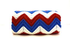 Vintage Red White & Blue CHEVRON Stripe Handmade by aniandrose, $32.00