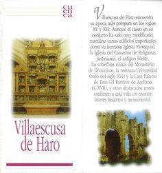 Folleto turístico de Villaescusa de Haro, Cuenca, con lugares de interés y plano de la localidad. Patronato de Desarrollo Provincial de Cuenca, 2006. #Cuenca #VillaescusadeHaro #Turismo