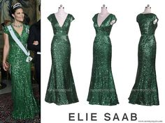 Crown Princess Victoria wore Elie Saab V Neck Sequined Cap Sleeved Beaded Gown www.newmyroyals.com