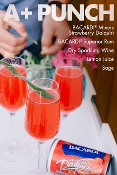 Strawberry and sage blend together with sparkling wine or Prosecco to make an upscale punch that's perfect for garden parties, brunch and bachelorette parties! Drinks Alcohol Recipes, Punch Recipes, Non Alcoholic Drinks, Bar Drinks, Cocktail Drinks, Cocktail Recipes, Snack Recipes, Beverages, Cocktails