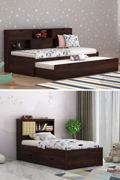 Decorating the kid's room with attractive kids beds impart a pleasing change to the decor. The kid's room involves various assets which make the room perfect for them. Basically, the furniture units required in the room are wooden kids beds, study table, wardrobe, chair etc. In the league of this, the bed takes first place in the room. Kids Beds With Storage, Kids Storage, Wooden Toddler Bed, Beds Online, Double Beds, Kid Beds, Kids Bedroom, Bedroom Furniture, Study