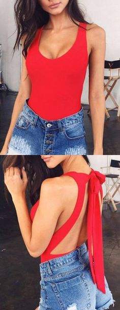 Red Tie Back Backless One-piece Swimsuit