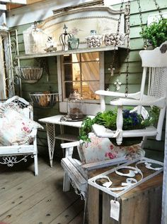 """Blossoms Vintage Chic: ON """"THE PORCH"""" AT COUNTRY ROADS  BED AND POTTING CHAIR SWING"""