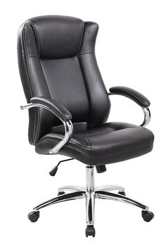 Anji Ergonomic Big And Tall High Back Faux Bonded Black Leather Executive Office  Desk Chairs With